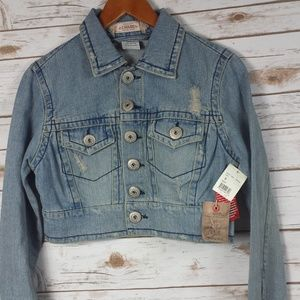 Vintage Cotton Denim Croped Distressed Jacket